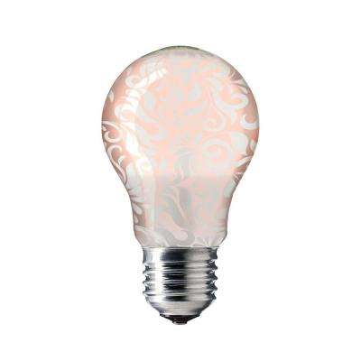 60-Watt Equivalent Soft White A19 LED Damask Champagne Accent Light Bulb
