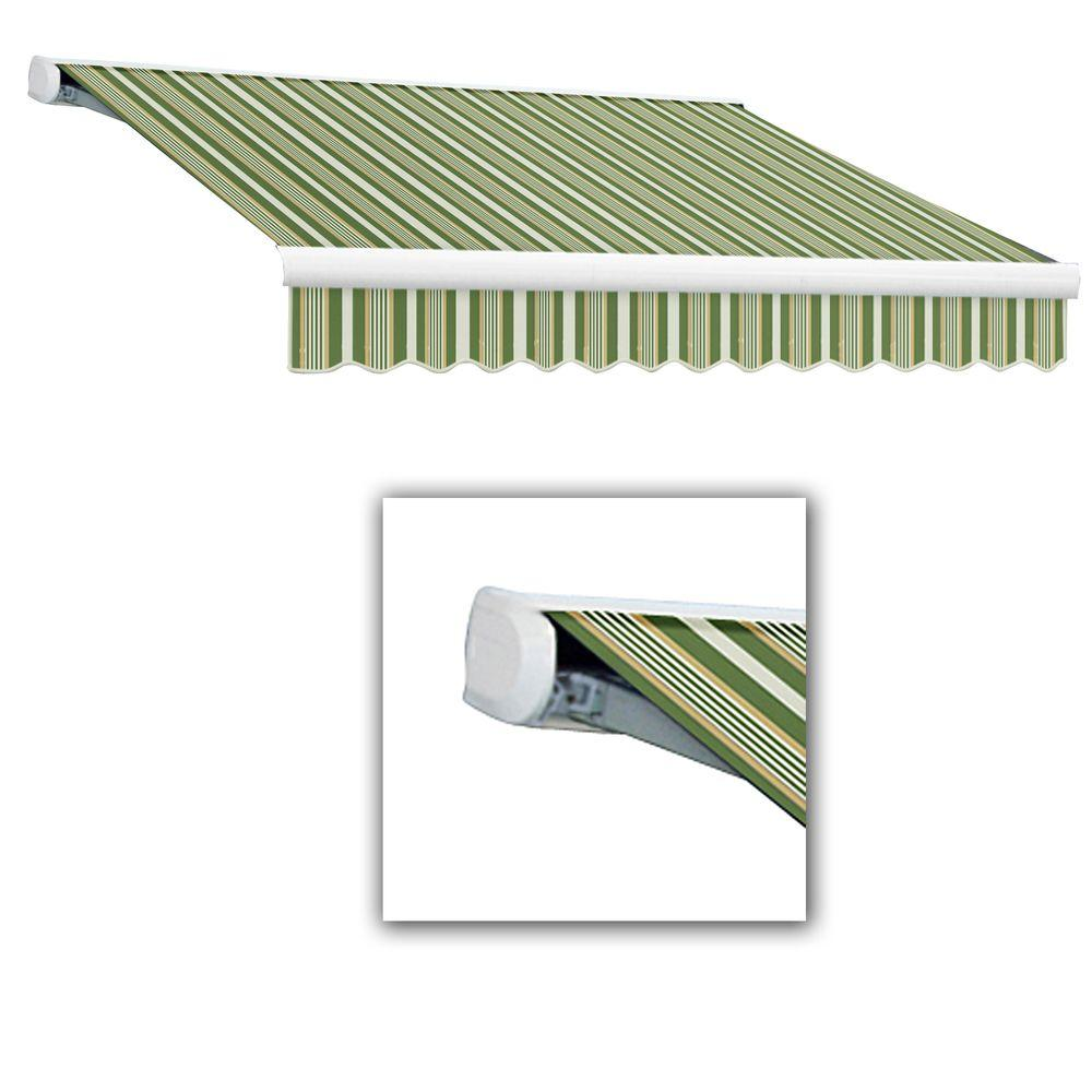 AWNTECH 14 ft. Key West Full-Cassette Manual Retractable Awning (120 in. Projection) in Forest/Gray Multi