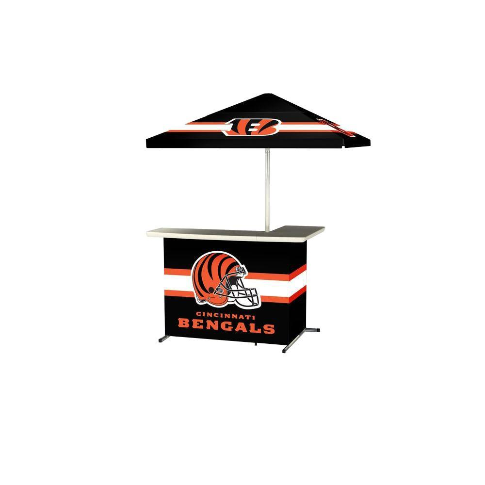 Cincinnati Bengals All-Weather L-Shaped Patio Bar with 6 ft. Umbrella