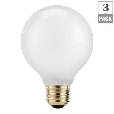 40-Watt Equivalent G25 Halogen White Decorative Globe Light Bulb (3-Pack)