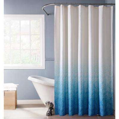 Lace Ombre 72 in. Blue Monochromatic Fabric Shower Curtain