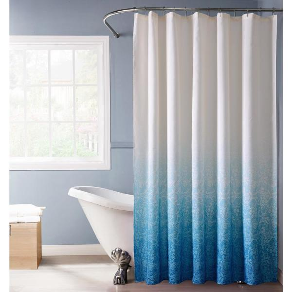 Dainty Home Lace Ombre 72 in. Blue Monochromatic Fabric Shower Curtain