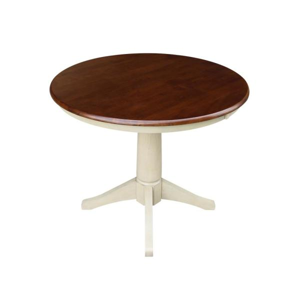 Olivia 36 in. Almond and Espresso Round Dining Table