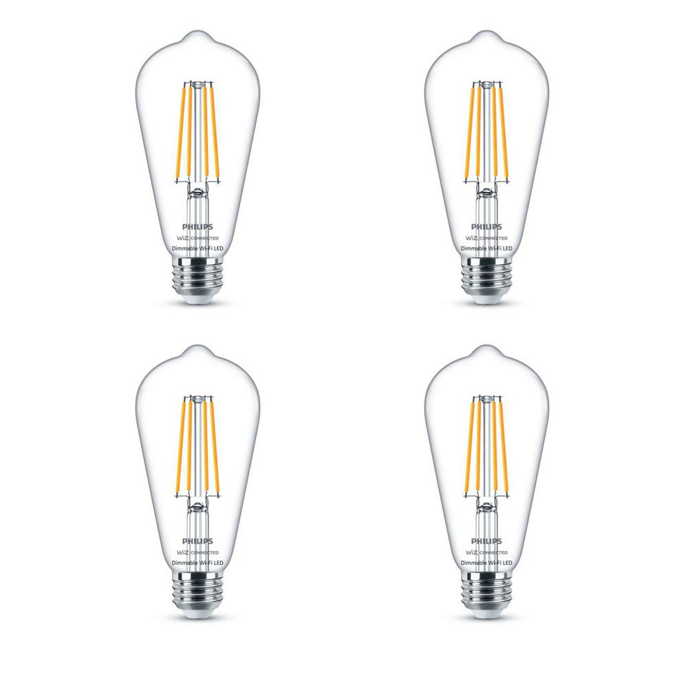 Philips Soft White ST19 LED 40-Watt Equivalent Dimmable Smart Wi-Fi Wiz Connected Wireless Light Bulb (4-Pack)