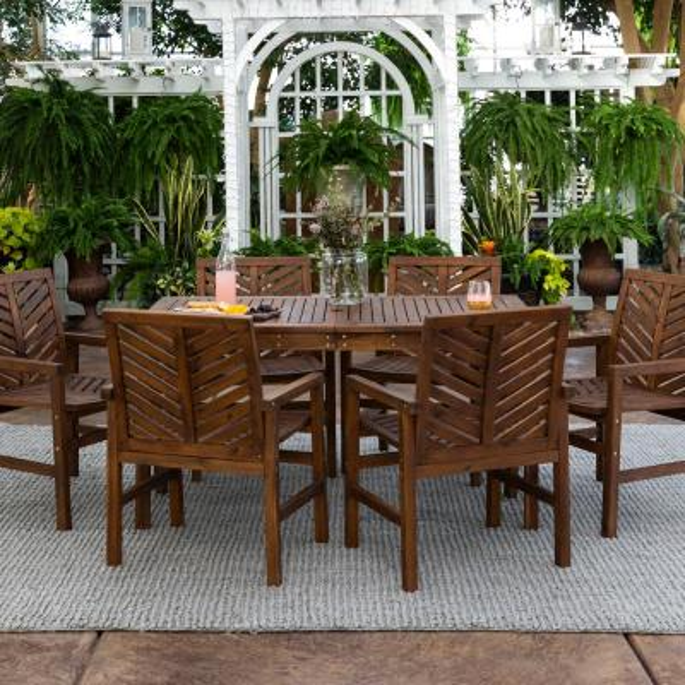 Chevron Dark Brown 7-Piece Wood Outdoor Patio Dining Set