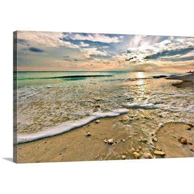 Greatbigcanvas 30 In X 20 In Beautiful Beach Sunset Sea Shells On Beach Picture By Eszra Tanner Canvas Wall Art 2528553 24 30x20 The Home Depot