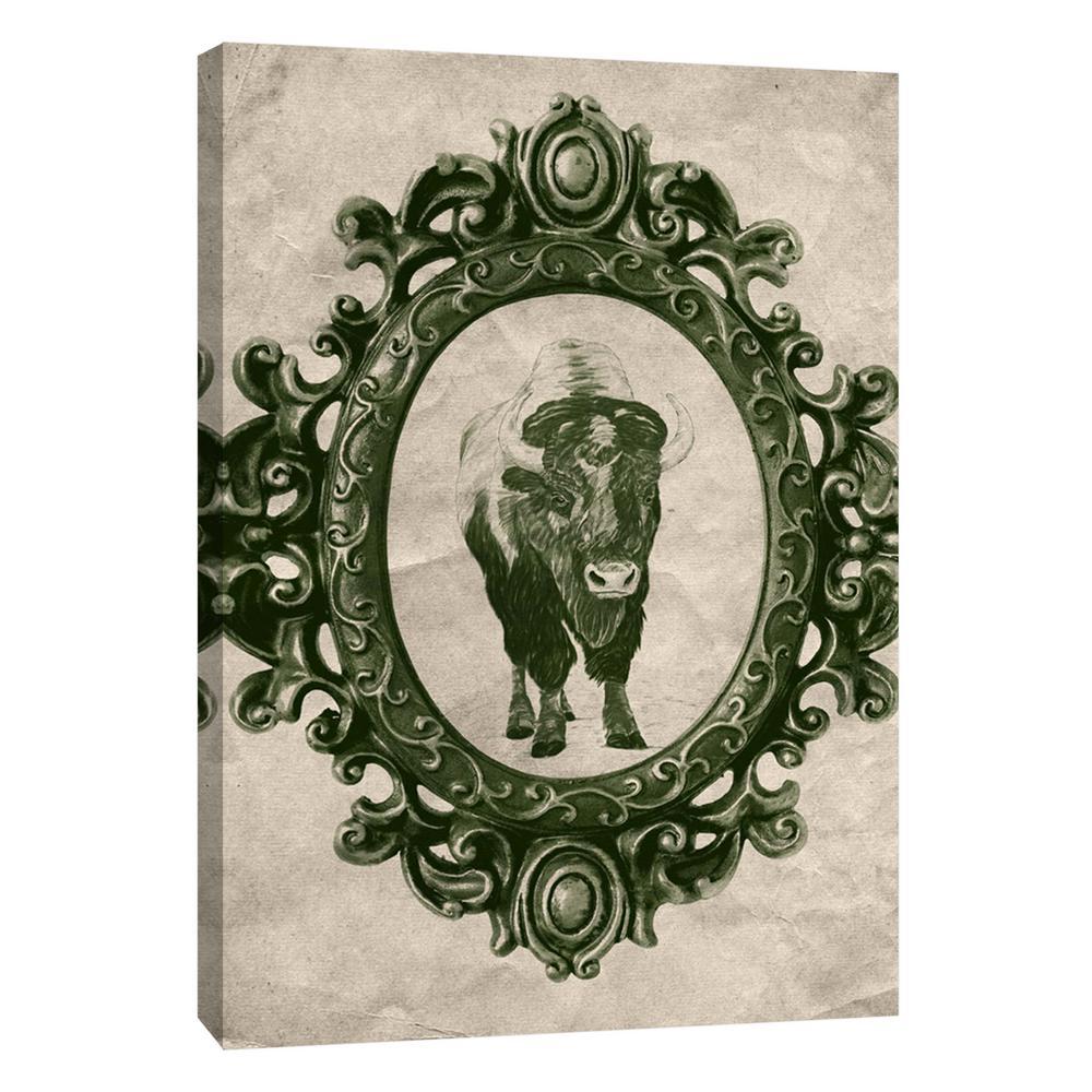 PTM Images 12 in. x 10 in. ''Framed Bison in Evergreen''