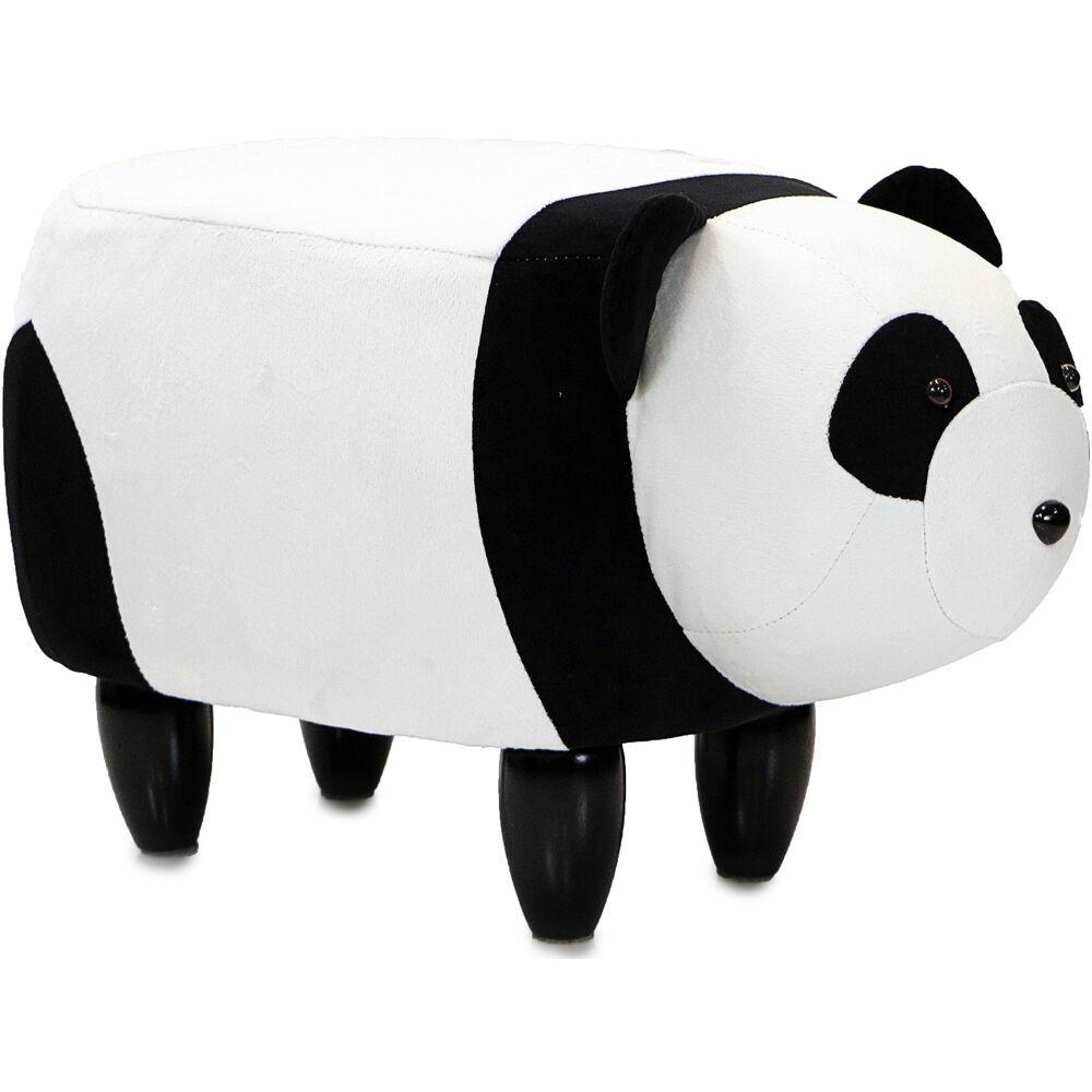 Black and White Panda Plush Animal Shape Ottoman