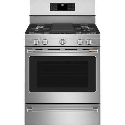 30 in. 5.6 cu. ft. Smart Gas Range with Steam-Cleaning Convection Oven in Stainless Steel