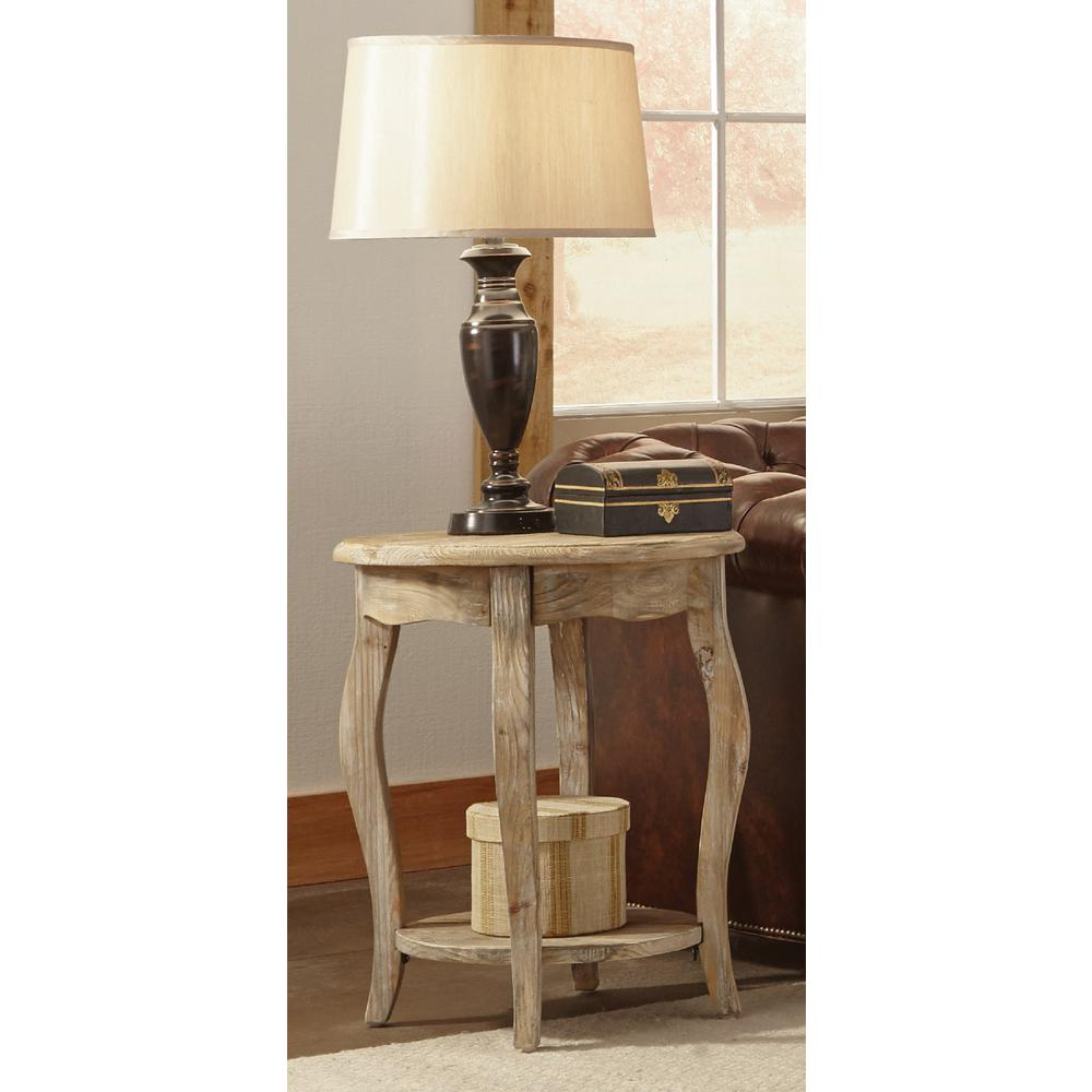 Rustic driftwood storage end table