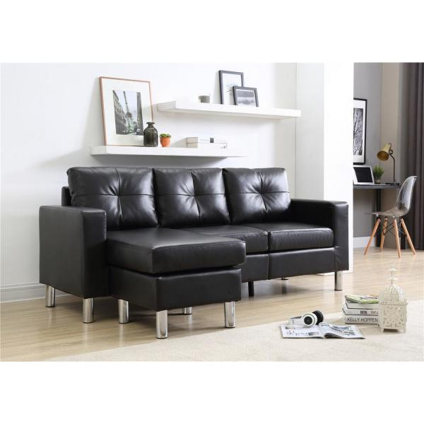 Black Small Space Convertible Sectional Sofa 73030 40bk The Home