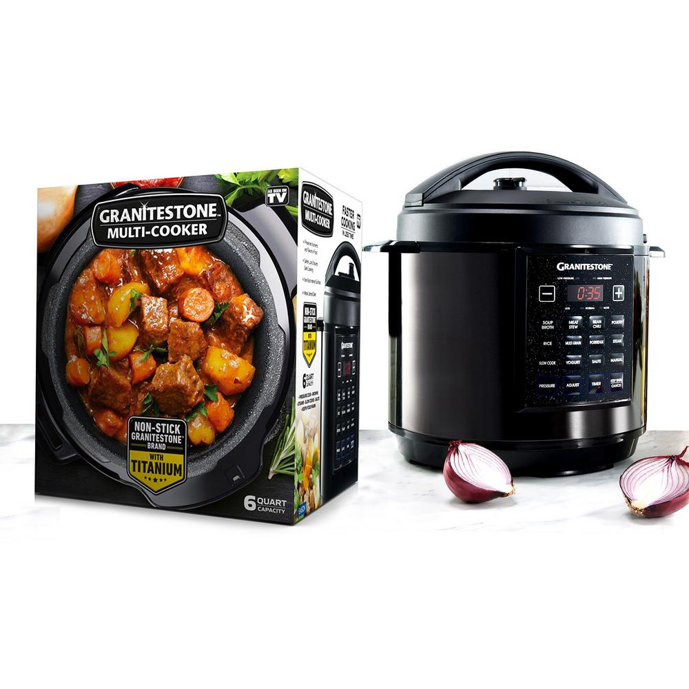 6 Qt. Black Electric Triple Layer Titanium Coating Multi-Pressure Cooker with Built-In Timer and Pre-Settings