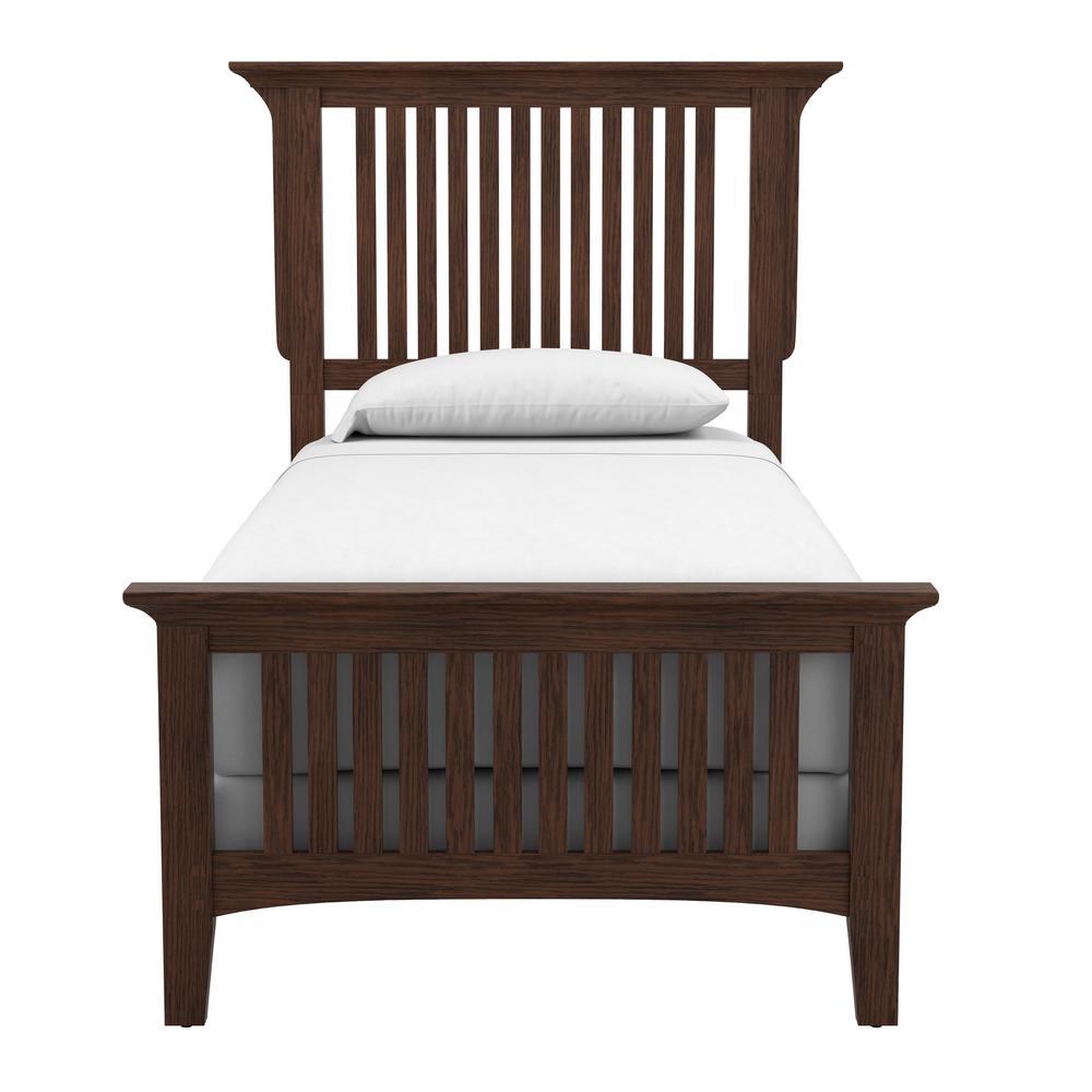 Modern Mission Vintage Oak Twin Bed Set