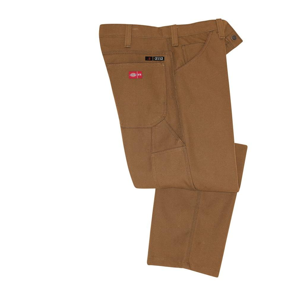 Dickies Men's 44-34 Rinsed Brown Duck Flame Resistant Relaxed Fit Duck Carpenter Jean