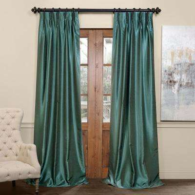 Peacock Blue Blackout Vintage Textured Faux Dupioni Pleated Curtain - 25 in. W x 108 in. L