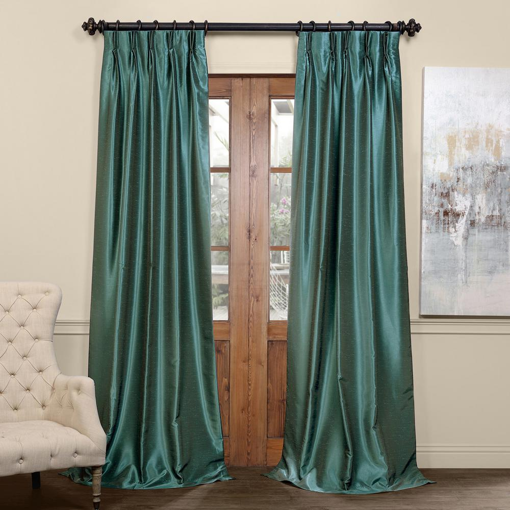 Exclusive Fabrics & Furnishings Peacock Blue Blackout Vintage Textured Faux Dupioni Pleated Curtain - 25 in. W x 96 in. L