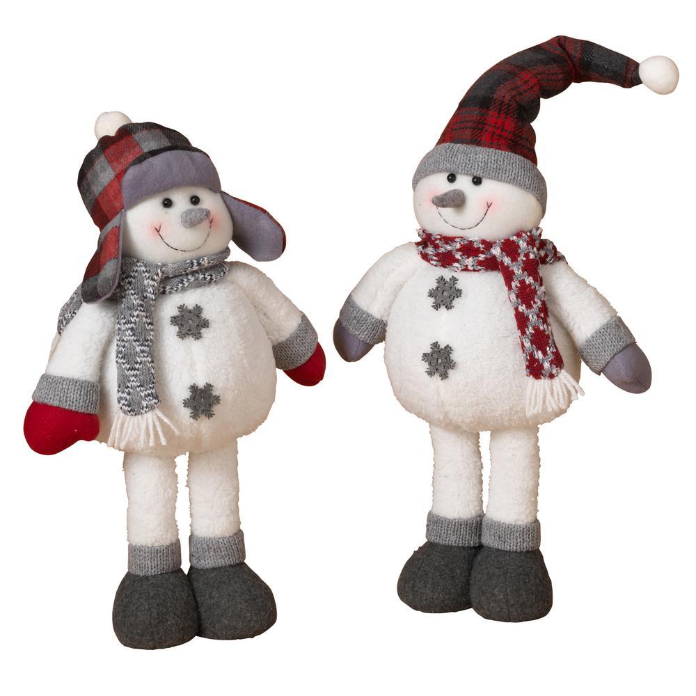 S/2 Asst Plush Holiday Snowmen