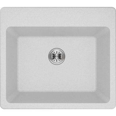 Quartz Classic Perfect Drain Drop-In 25 in. Laundry Sink in White