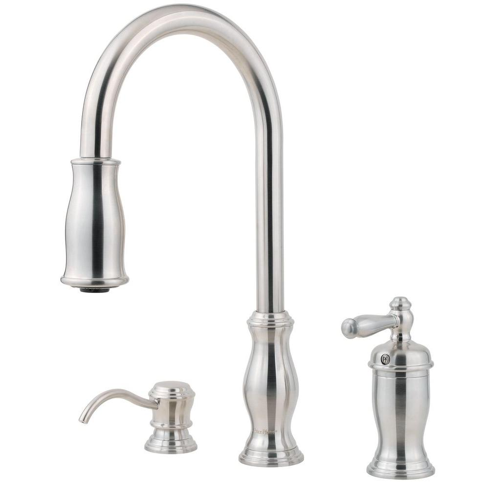 one handle kitchen faucet pfister hanover single handle pull sprayer kitchen 21058
