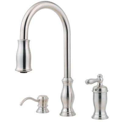Hanover Single-Handle Pull-Down Sprayer Kitchen Faucet in Stainless Steel