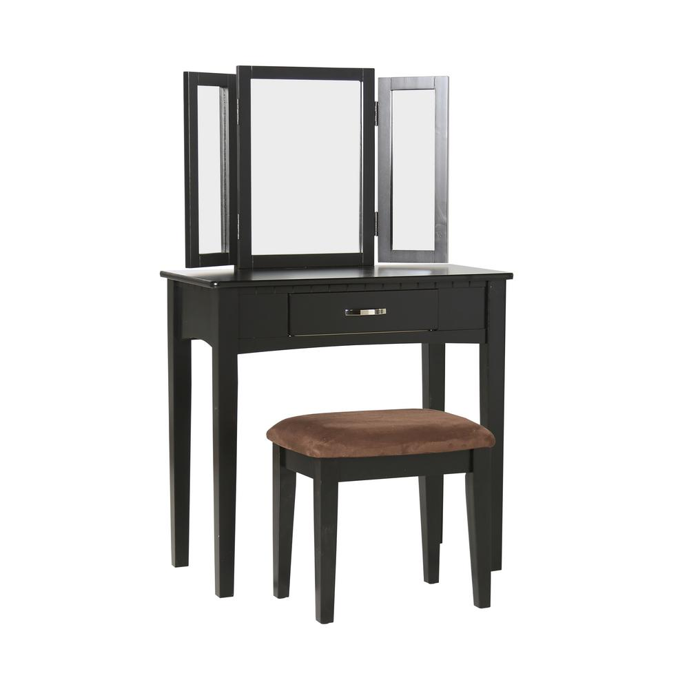 Dalorry 2-Piece Black Vanity Set