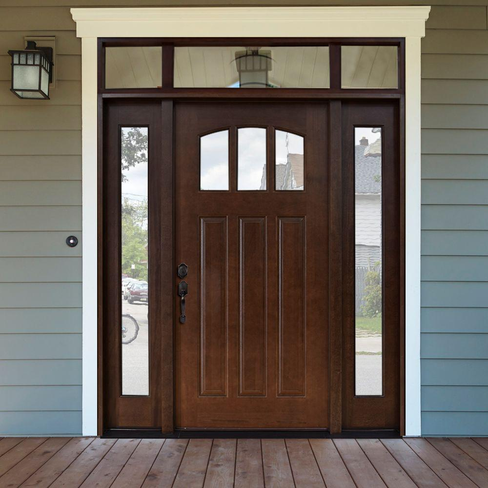 Steves Sons 64 In X 80 Craftsman 3 Lite Arch Stained Mahogany Wood Prehung Front Door With Sidelites And Transom