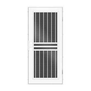 Unique Home Designs 36 In. X 80 In. Plain Bar White Right Hand Surface  Mount Aluminum Security Door With Black Perforated Metal  Screen 1S1001EL1WHP5A   The ...