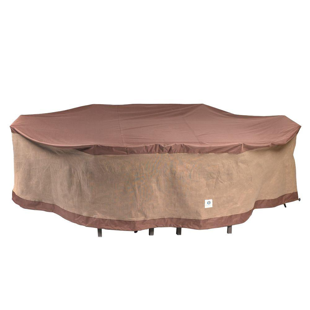 Duck Covers Ultimate 109 In L Rectangle Oval Patio Table And Chair Set Cover Uto10984 The Home Depot