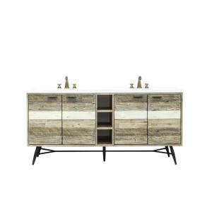 Kingrass 73 in. W x 22 in. D x 34 in. H Vanity in Solid Acacia Wood and Metal with Cultured Marble top and White sink