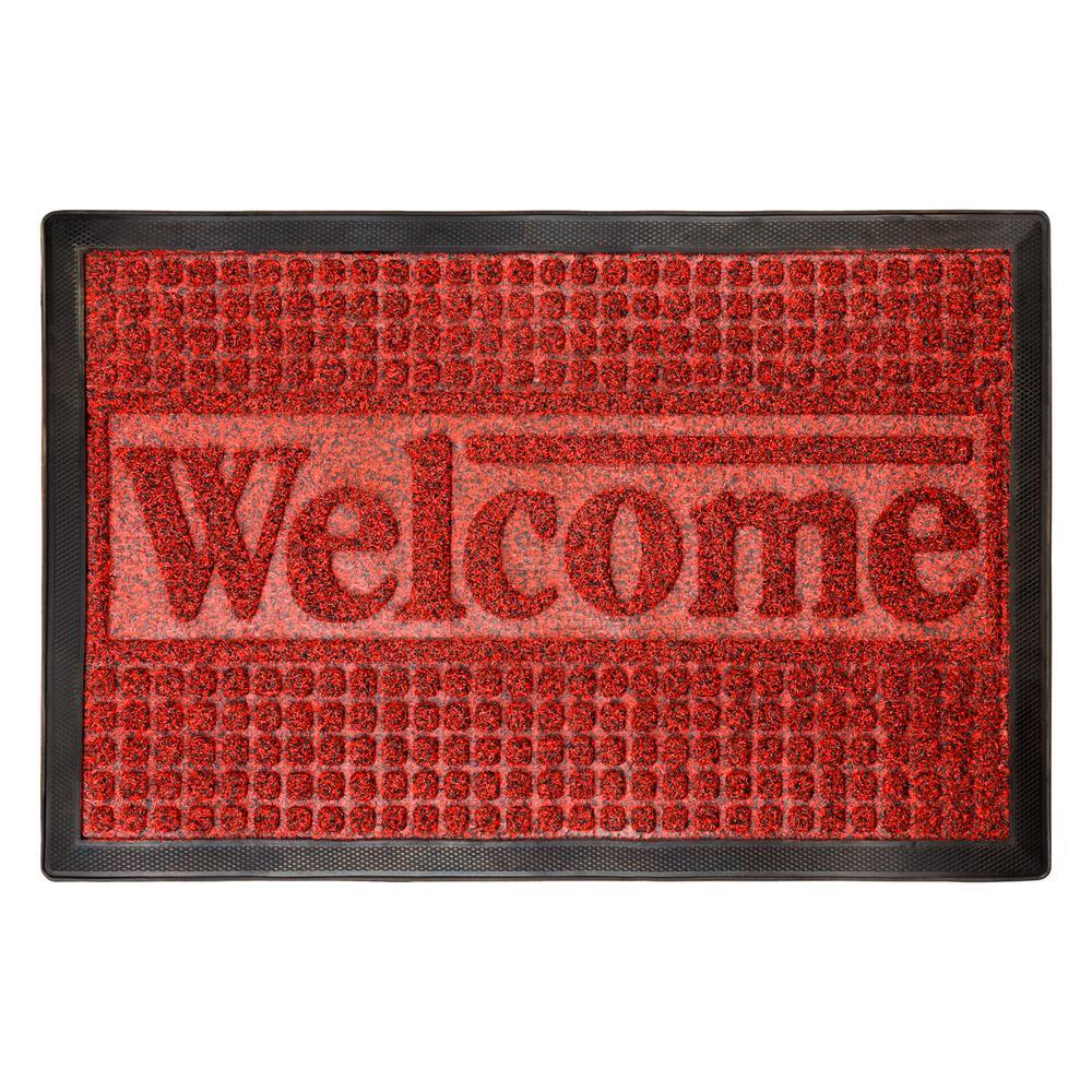 Lavish Home 17 5 In X 29 In Indoor Outdoor Nonslip Rubber Welcome Door Mat Hw2800002 The Home Depot