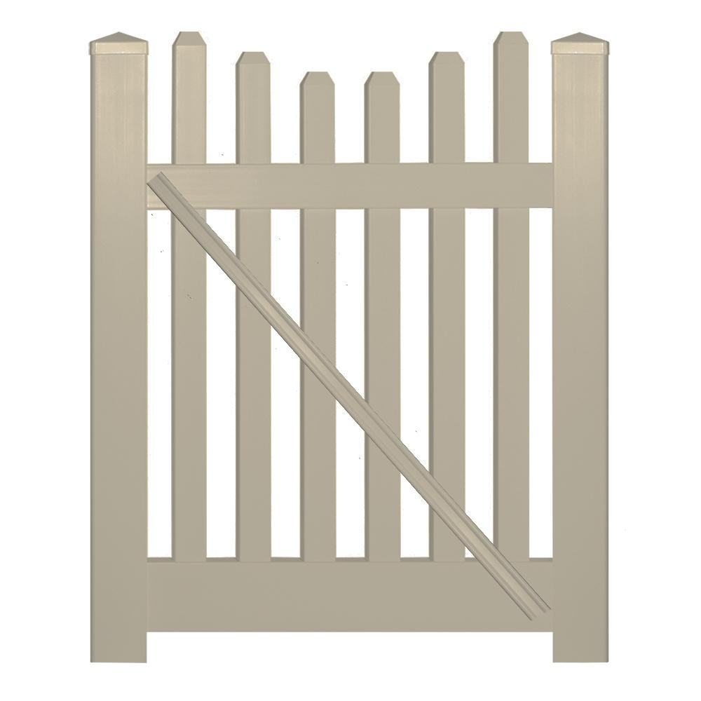 Hampshire 4 ft. W x 3 ft. H Khaki Vinyl Picket