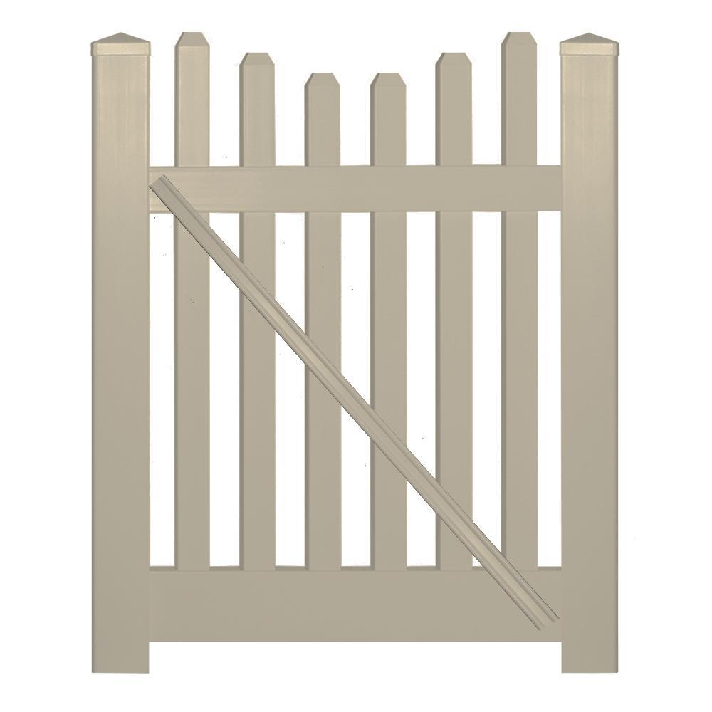 Hampshire 4 ft. W x 3 ft. H Khaki Vinyl Picket Fence Gate Kit