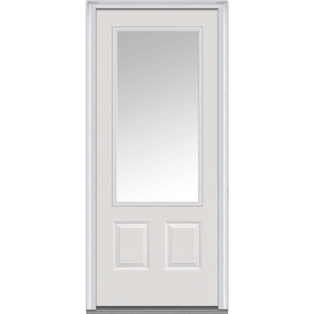 36 in. x 80 in. Left-Hand Inswing 3/4-Lite Clear 2-Panel Classic Primed Fiberglass Smooth Prehung Front Door