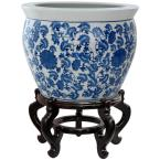 Oriental Furniture 14 in. Floral Blue and White Porcelain Fishbowl