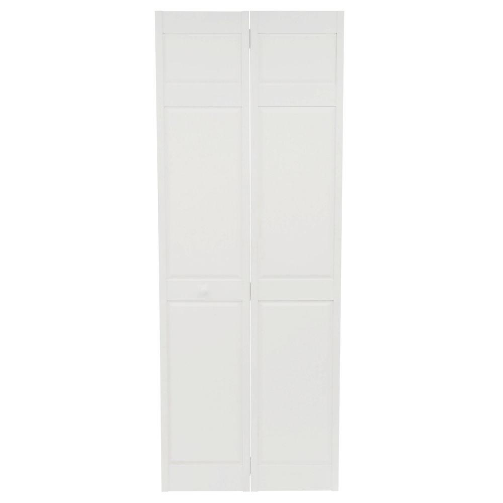 Home fashion technologies 30 in x 80 in 6 panel primed solid wood interior closet bi fold door for Solid wood interior doors home depot