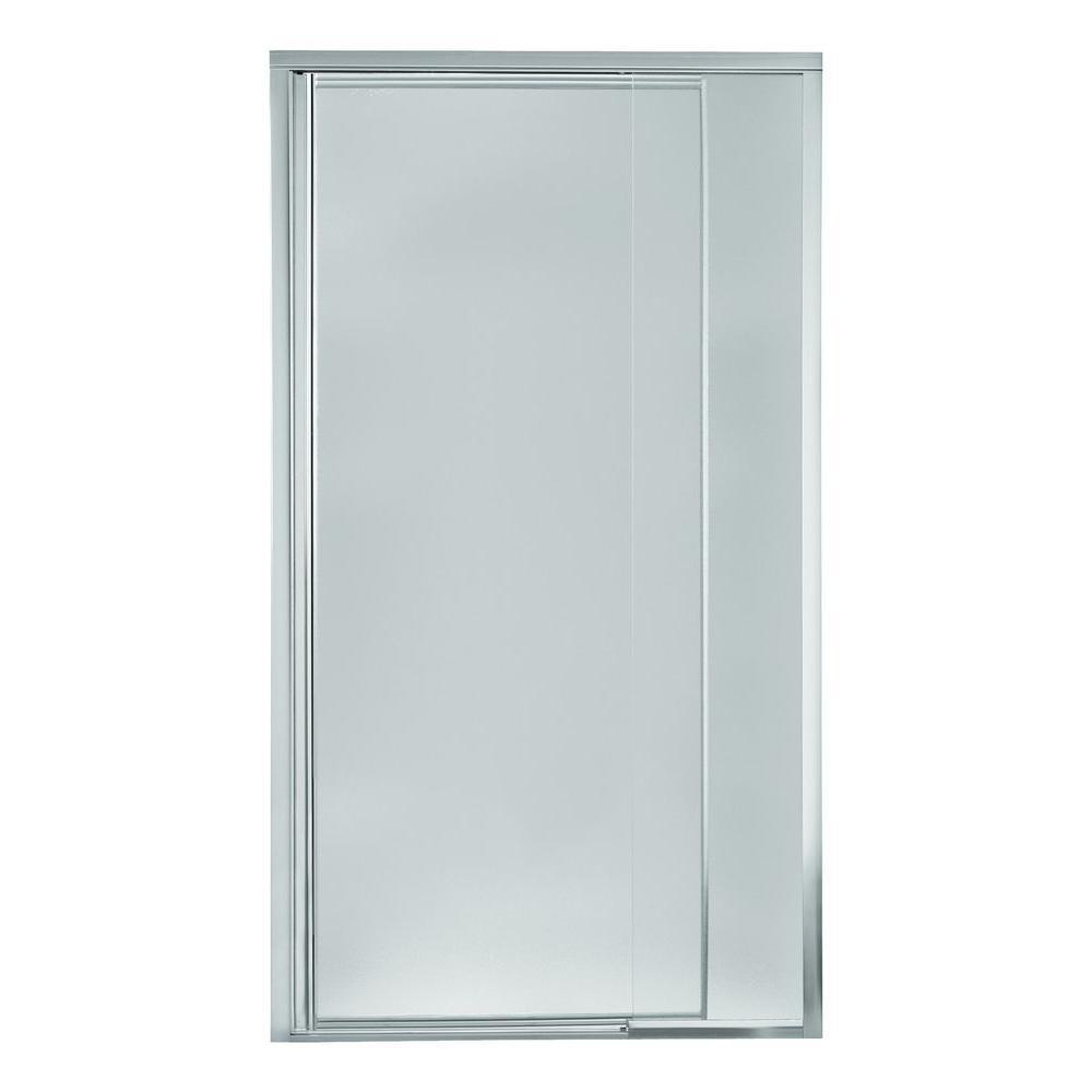 Vista Pivot II 48 in. x 69 in. Framed Pivot Shower Door in Silver with Handle