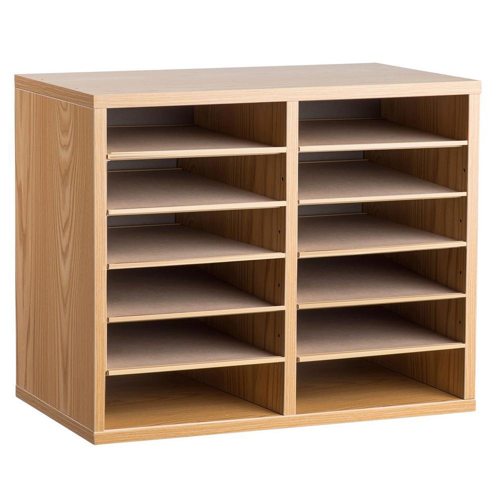 Wood Adjustable 12 Compartment Literature Organizer, Medium Oak