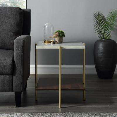 """20"""" Square Side Table - Marble/Gold"""