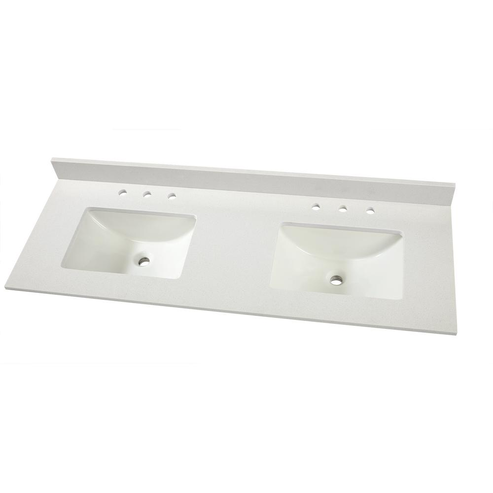 double sink vanity tops for bathrooms. D Engineered Marble Vanity Top in Snowstorm with Double Sink  Tops Bathroom Vanities The Home Depot