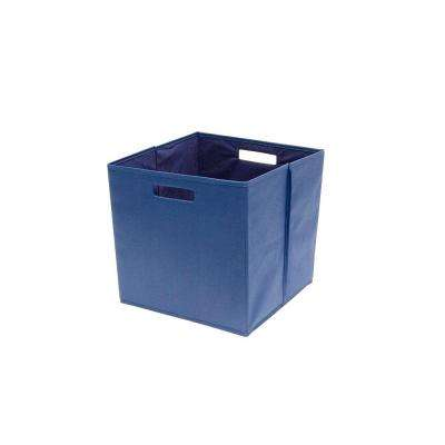 13.3 in. x 13.0 in. x 13.3 in. Decorative Fabric Full Storage Bin in Insignia Blue (4-Pack)