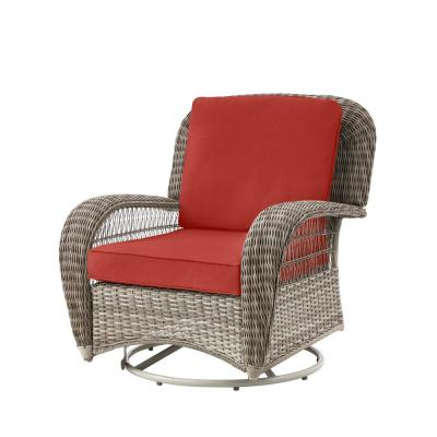Beacon Park Gray Wicker Outdoor Patio Swivel Lounge Chair with CushionGuard Chili Red Cushions