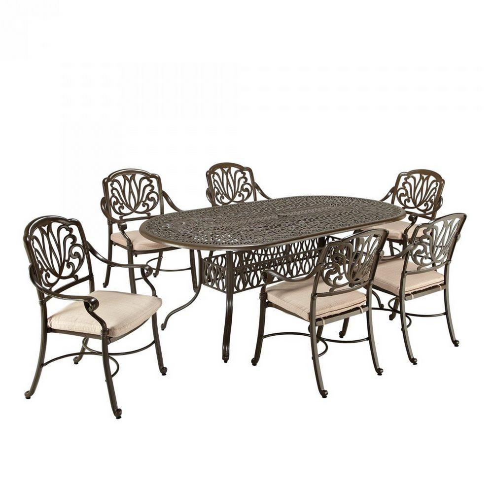 Homestyles Taupe Tan Brown Cast Aluminum Oval Outdoor Set Natural