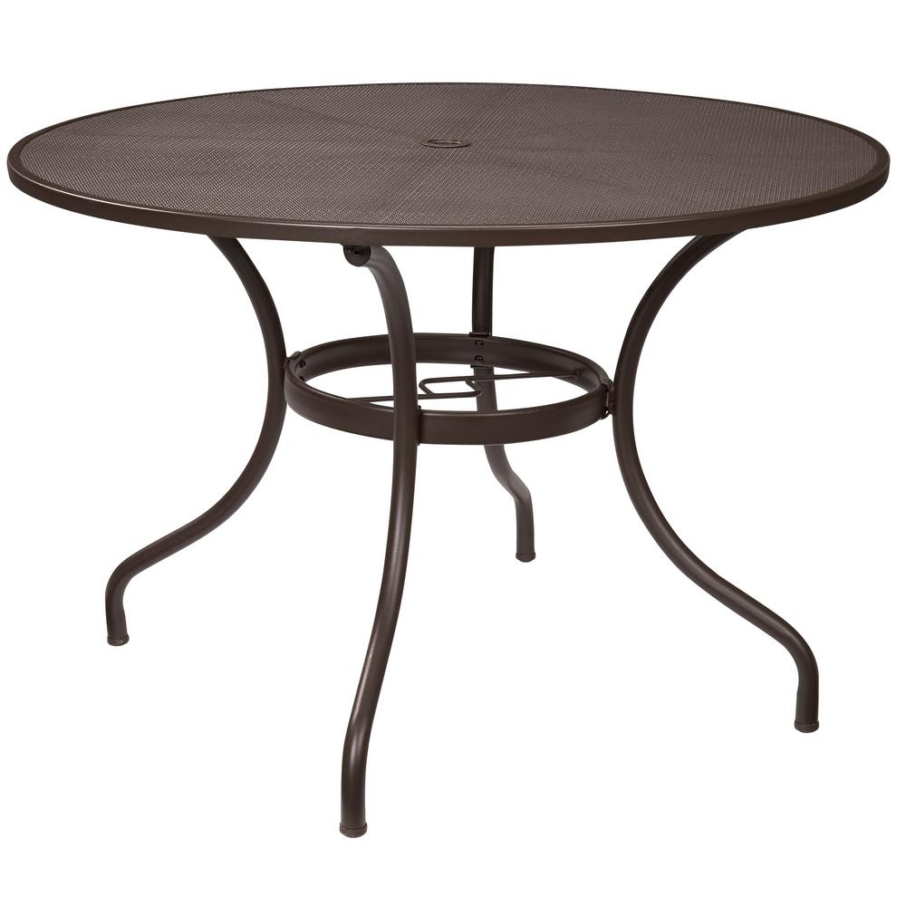 Round Outdoor Metal Table In Hampton Bay Mix And Match 42 In Round Mesh Outdoor Patio Dining Table