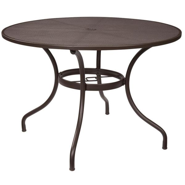 Stylewell Mix And Match 42 In Round Mesh Outdoor Patio Dining Table Fts60704 The Home Depot