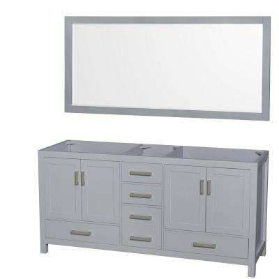 Sheffield 72 in. Vanity Cabinet with Mirror in Gray