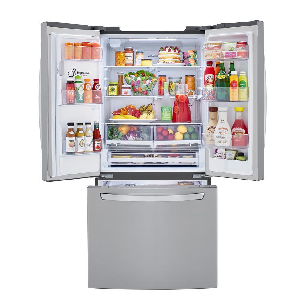24.50 cu. ft. 3-Door French Door Refrigerator in PrintProof Stainless with Ice and Water Dispenser and Slim Door Ice