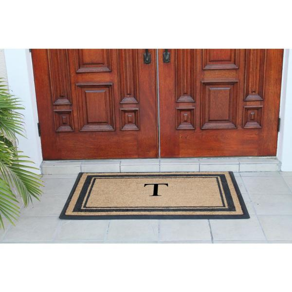 Unbranded A1hc First Impression Markham Border 29 5 In X 47 In Coir Double Monogrammed T Door Mat A1home200102 T The Home Depot