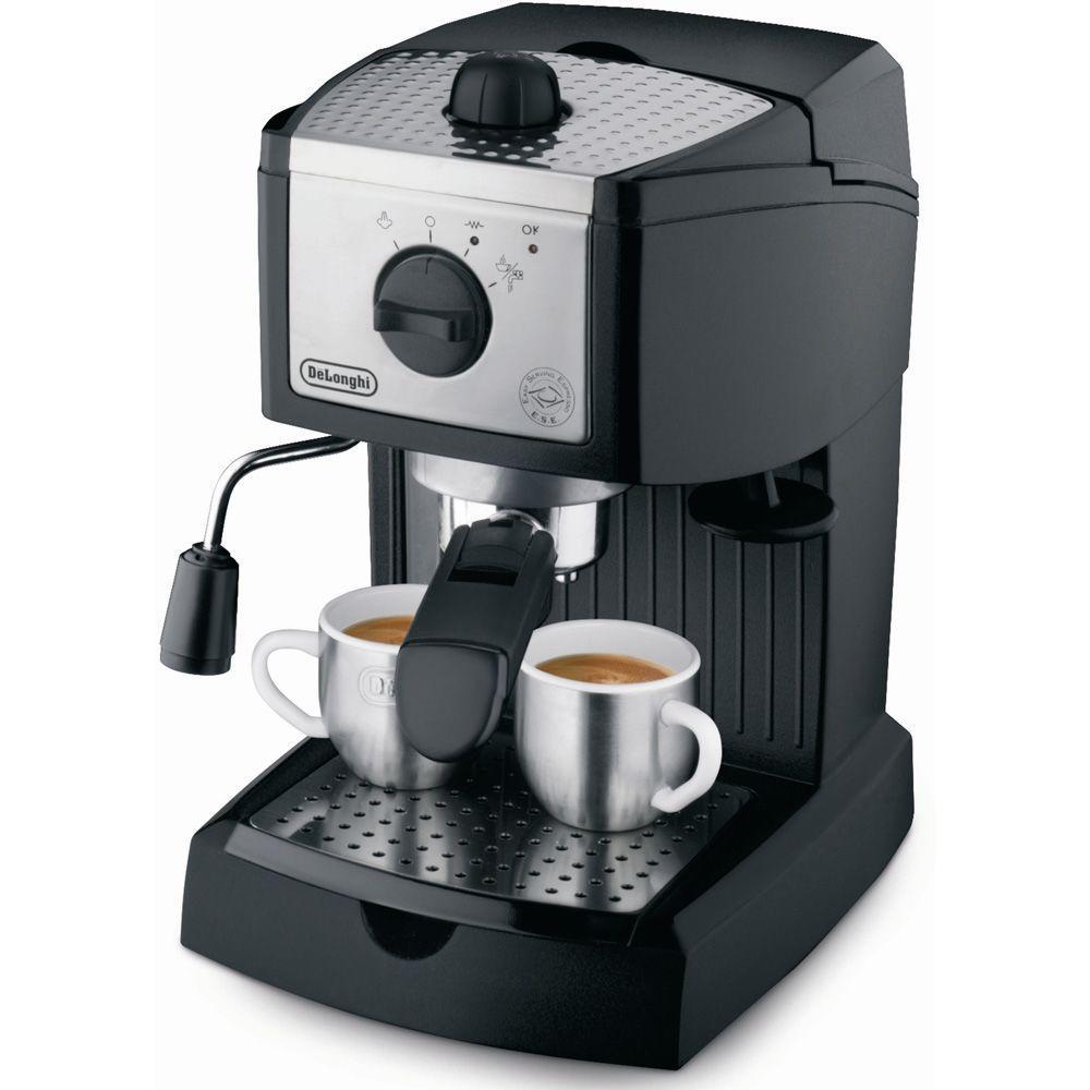 DeLonghi EC155 15-Bar Black and Silver Espresso Machine and Cappuccino Maker