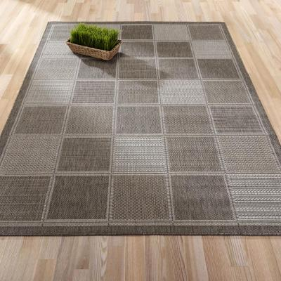 Jardin Collection Contemporary Boxes Design Gray 5 ft. x 7 ft. Outdoor Area Rug