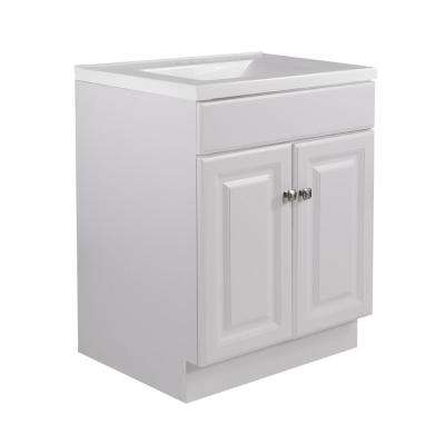 24 in. x 21 in. x 33.5 in. 2-Door Bath Vanity in White w/ 4 in. Centerset Solid White CM Contempo Vanity Top w/ Basin